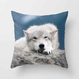 Sleepy Wolf Throw Pillow