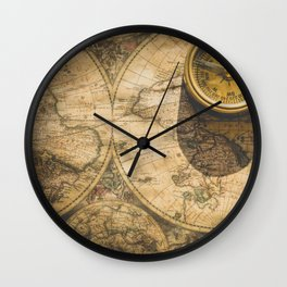 Map & compass Wall Clock