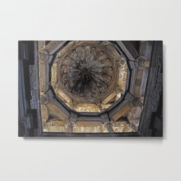 Antique Stepwell Ceiling Architecture, Monument, Gujarat, India Metal Print