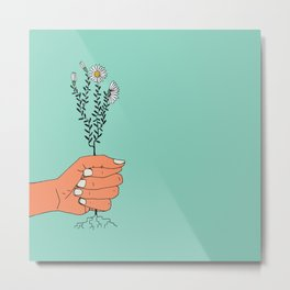 Hold On Tight To Summer (Teal) Metal Print