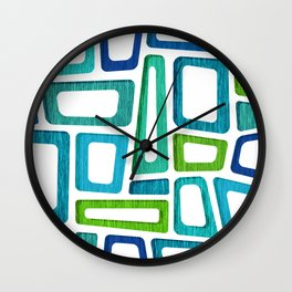 Midcentury Boxy Abstract - Blue Green Palette Wall Clock