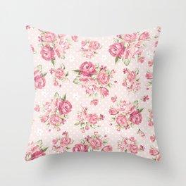 Romantic Polka Dots and Roses Throw Pillow