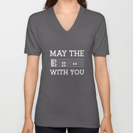 May the 4th be with you (dark colors/alto clef) Unisex V-Neck