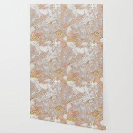 Rose gold marble dazzling swirl Wallpaper
