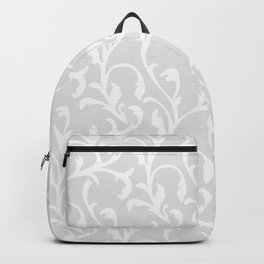 Pastel gray white abstract vintage damask pattern Backpack