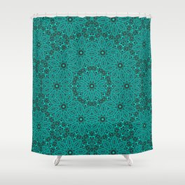 Beautiful mandala in teal and green Shower Curtain