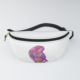 Secretary with Pink Hair Holding Suitcase Fanny Pack