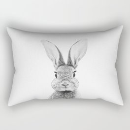 Black and White Bunny Rectangular Pillow