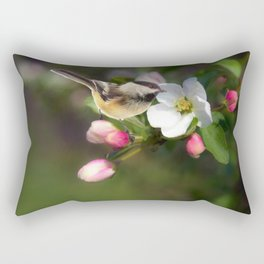 Apple Blossom and Chickadee Rectangular Pillow