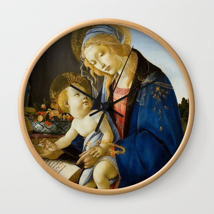 The Virgin and Child by Sandro Botticelli Wall Clock