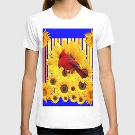 BLUE WESTERN YELLOW SUNFLOWERS RED CARDINAL T-shirt