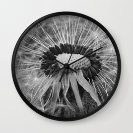 Dandelion Black and White Photography | Nature Art | Plant | Botanical | Wish Wall Clock