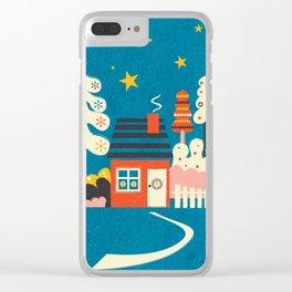 Festive Winter Hut Clear iPhone Case