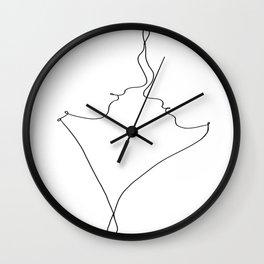 Us male female body line art black white modern contemporary art illustration Wall Clock