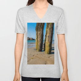 Saint Malo beach at low tide Unisex V-Neck