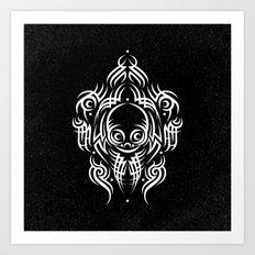 Alien Tribal Tattoo - white Art Print