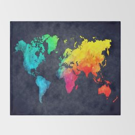 World map watercolor 6 Throw Blanket