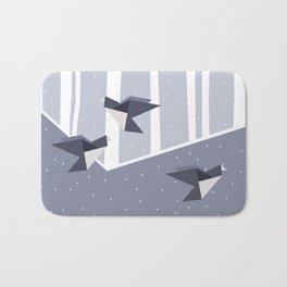 Elegant Origami Birds Abstract Winter Design Bath Mat