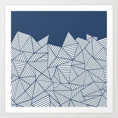 Abstract Mountain Navy Art Print