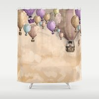 balloons Shower Curtains featuring balloons by Juan Alonzo