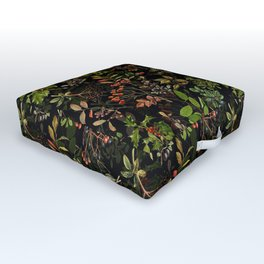 Vintage & Shabby Chic - vintage botanical wildflowers and berries on black Outdoor Floor Cushion