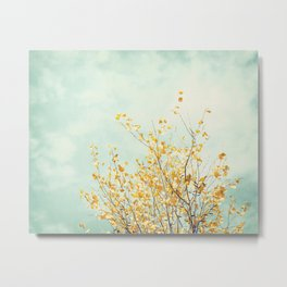 Yellow Tree Leaves Mint Sky Photography, Nature Turquoise Teal Gold Aqua Metal Print