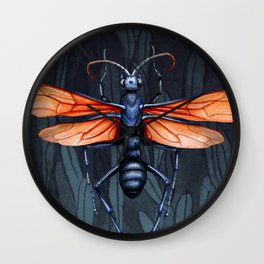 Wasp in the leaves Wall Clock