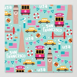 San Francisco travel - Retro style illustration pattern Canvas Print