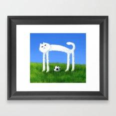 Skinny Cat With Soccer Ball Framed Art Print