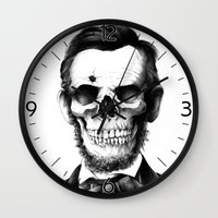 lincoln Wall Clocks featuring Lincoln Skull by BIOWORKZ