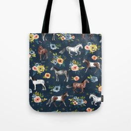 Wild Horses, Horse and Floral Print, Navy Blue, Watercolor Painting, Illustrated Horses, Flowers,  Tote Bag