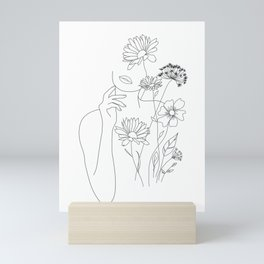Minimal Line Art Woman with Flowers III Mini Art Print