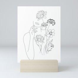 Minimal Line Art Woman with Flowers III Mini Art Print