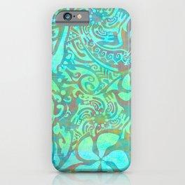 Polynesia Teal Print iPhone Case