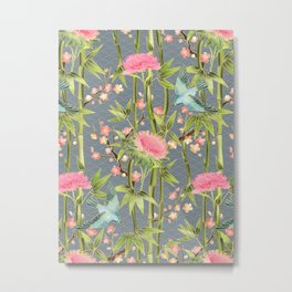 Bamboo, Birds and Blossom - grey Metal Print