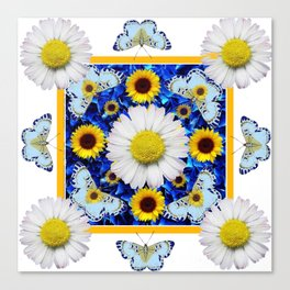 EVERYTHING'S COMING UP DAISIES & BUTTERFLIES  BLUE  ART Canvas Print