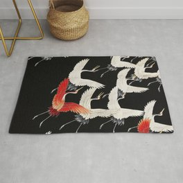 Flying Japanese Cranes Rug
