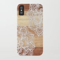 brown iPhone & iPod Cases featuring White doodles on blonde wood - neutral / nude colors by micklyn