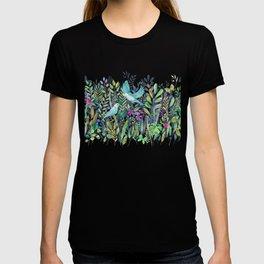 Little Garden Birds in Watercolor T-shirt