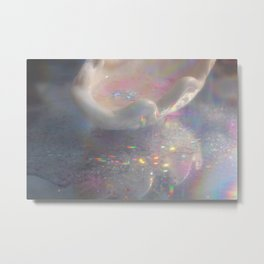 Seashell with water and sparkles Metal Print