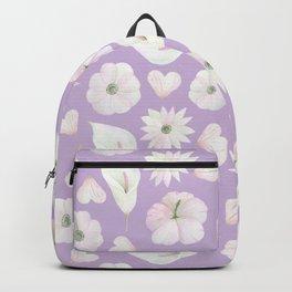 Modern purple lavender pink watercolor white flowers Backpack
