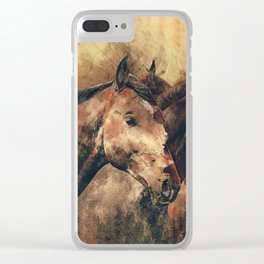 Galloping Wild Mustang Horses Clear iPhone Case