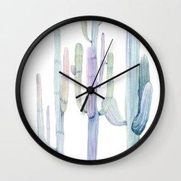 Pastel watercolor tall cacti   pale watercolor cactus Wall Clock