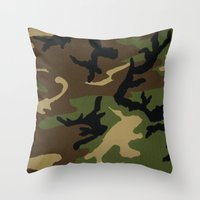 camo Throw Pillows featuring Camo by gypsykissphotography