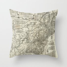 Map of the middle British colonies in North America - 1776 Throw Pillow