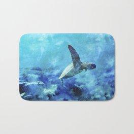Sea Turtle Into The Deep Blue Bath Mat