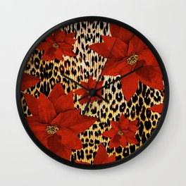 Animal Print Leopard and Red Poinsettia Wall Clock