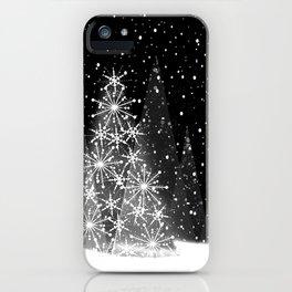 Elegant Black and White Christmas Trees Holiday Pattern iPhone Case