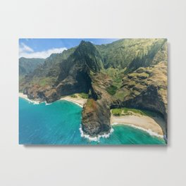 Aerial view Na Pali Coast, Kauai, Hawaii Metal Print
