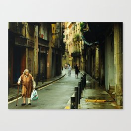 Barcelona Old Lady Canvas Print